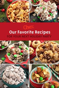You'll be the life of the party when you show up with one of our favorite Chex™  recipes. Keep it classic, go festive or try something unique! Plus, with quick prep and easy beautiful presentation, you won't have to work overtime to wow your guests. Holiday Snacks, Christmas Party Food, Christmas Cooking, Christmas Desserts, Holiday Recipes, Christmas Recipes, Holiday Parties, Holiday Movie, Christmas Goodies
