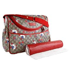 82621b04749 Gucci Duck Red Zip Supreme Print GG Canvas Diaper Bag Beige Baby Italy New