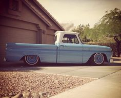 Baby blue truck...