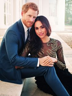 One of the two photographs of Prince Harry and Meghan Markle, taken earlier this week at Frogmore House in Berkshire