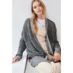 BDG Carson Cotton Cardigan (€50) via Polyvore featuring tops, cardigans, open front cardigan, relaxed fit tops, cotton open front cardigan, cotton cardigan and bdg