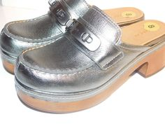 Chic & Edgy! COACH Adrienne Leather Mule Clog Shoes in Metallic Green Size…