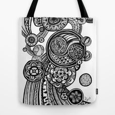 Mums Zentangle1 Tote Bag by Lily Burgess - $22.00