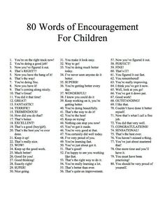 Strive to give your children more encouraging words than praise words. Encourage your kids for their efforts and attitudes. Children who receive more encouragement over parise are more resilient. Because they are focused on their effort and believe they c The Words, Parenting Advice, Kids And Parenting, Coaching, Therapy Tools, Raising Kids, Social Skills, Social Work, Motivational Words