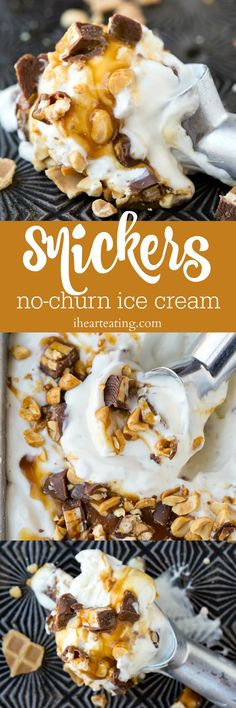 SNICKERS no-churn ice cream recipe is a simple no-churn ice cream that's made with whipped cream and sweetened condensed milk.
