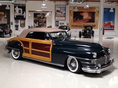 He liked the long, narrow hood of the 1948 Chrysler Town and Country and decided that a long, narrow engine would best suit the car. His engine choice was a perfect fit: a V10 Viper engine from a Dodge truck, complete with the automatic transmission.