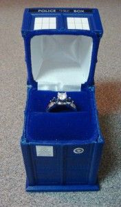 "Tardis ring box: ""this one IS bigger on the inside, cause it holds true love!"" Thanks geekvites.com!"