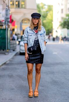 Le Fashion Blog Denim Jacket Band Tee Studded Leather Skirt Clogs YSL Bag Via Style Caster