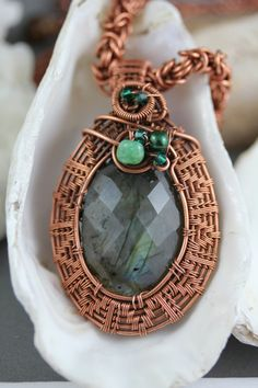 Copper Wire Wrap Pendant with Faceted Green Labradorite, Chrysoprase, and Crystals
