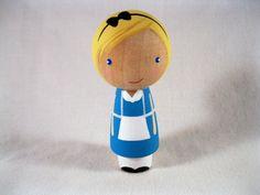 Alice finds Wonderland Kokeshi Peg Doll - READY TO SHIP. $20.00, via Etsy.