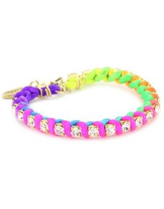 ShopStyle: Ettika Gold Colored Rhinestone Chain and Neon Satin Bracelet Neon Bracelets, Summer Bracelets, Fashion Bracelets, Bangle Bracelets, Thread Bracelets, Jewelry Crafts, Handmade Jewelry, Unique Jewelry, Jewelry Ideas