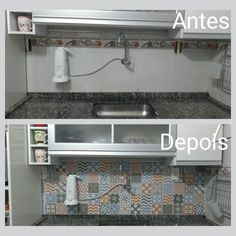 Antes e depois na cozinha decorada com  Papel de Parede Azulejo Sintra da TaColado!