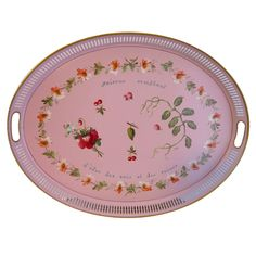 Pink Hand Painted Tole Tray $800.00