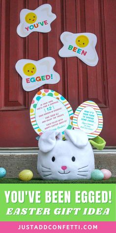 "Surprise your neighbors and friends this Easter with my ""You've Been Egged!"" Easter gift idea! The printables are available in my Just Add Confetti Etsy shop. Attach the fun splatter egg signs to the front door and leave some Easter goodies, along with the two Easter egg signs, on the doorstep. Then hide plastic eggs in the front yard filled with Easter treats for a surprise Easter egg hunt! Be sure to head to justaddconfetti.com for even more Easter decorations, gift ideas and crafts."