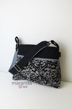 Gifts for Christmas Stella Diaper Bag Medium Cross Body   Gray Damask by marandalee,