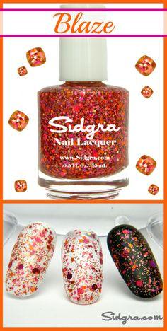 Glitter Nail Polish by Sidgra | Blaze | Custom Blended - Full Size Bottle. Vegan, 5-Free, Cruelty Free.  Sidgra.com