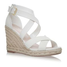 White High Heel Wedge Sandals ❤ liked on Polyvore featuring shoes, sandals, wedges, wedge heel sandals, wedge heel shoes, high wedge shoes, wedge sole shoes and wedge shoes