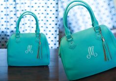 NEW A-Line Signature Bag in Aqua. LOVE it. So luxurious, but affordable! :-) www.myinitials-inc.com/marthahowell
