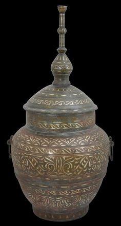 Philippines Moro Silver-Inlaid Brass Wedding Vessel (Gadur) - Michael Backman Ltd Filipino Art, Philippine Art, Ethnic Design, Antique Brass, Philippines, Antiques, Silver, Wedding, Vases