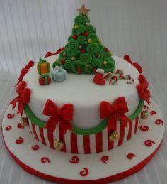 super ideas for cake fondant christmas sweets Christmas Cake Designs, Christmas Cake Decorations, Christmas Cupcakes, Christmas Sweets, Holiday Cakes, Christmas Cooking, Christmas Goodies, Holiday Treats, Xmas Cakes