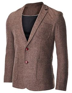 FLATSEVEN Men's Herringbone Tweed Sport Coat Wool Blazer Jacket with Elbow Patches (BJ426) Brown, Boys L #FLATSEVEN #Men #Clothing #Fashion #Jacket #blazer #trends #hot