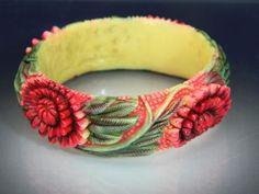 Vintage Art Deco Floral Carved Celluloid Bangle Bracelet. #Bangle