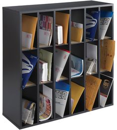Now you can easily sort mail for the entire office staff with this 18 Section Wooden Mail Sorter. Each of the 18 huge compartments can hold up to 5 pounds and are designed to hold envelopes brochures catalogs and other documents. The dividers are movable so you can customize the sections as needed to meet your storage