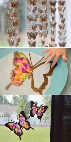 Hanging Paper Butterflies Decorations - Cute DIY Window Decorating Ways Sure To Amaze You Kids Crafts, Diy And Crafts, Craft Projects, Diy Butterfly Decorations, Butterfly Crafts, Diy Simple, Easy Diy, Diy Papillon, Diy Paper