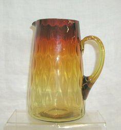 Victorian amberina glass diamond pattern water pitcher