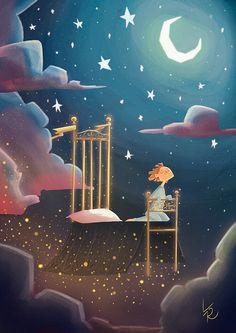 Viaggio ad occhi chiusi on behance children's illustration спокойной н Art And Illustration, Anime Kunst, Anime Art, Good Night Image, Cute Cartoon Wallpapers, Moon Art, Painting For Kids, Anime Comics, Cute Drawings