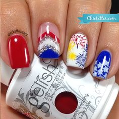 Chickettes.com 4th of July Nail Art
