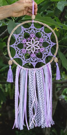 Dream Catcher Pink, Dream Catcher Decor, Large Dream Catcher, Macrame Patterns, Doily Patterns, Crochet Patterns, Thread Crochet, Crochet Doilies, Sun Catchers