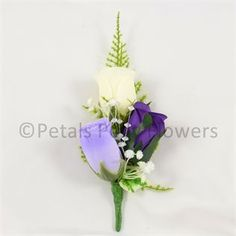 Purple, Lilac & Ivory Rose Corsage / Buttonhole for the Groom