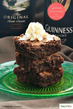 Guinness Brownies with Baileys Frosting - An easy recipe for moist, fudgy brownies made with Guinness stout, and topped with Baileys frosting. Perfect for St. Patrick's Day.