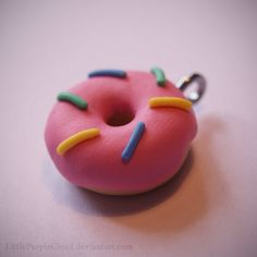 Polymer Clay Donut Charm by LittlePurpleCloud.deviantart.com on @DeviantArt