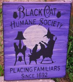 Black Cats Humane Society halloween witches signs decorations witch | SleepyHollowPrims - Seasonal on ArtFire $25.65