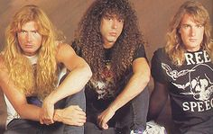 Dave Mustiane, Marty Friedman y David Ellefson Marty Friedman, David Ellefson, Dave Mustaine, Gold Hair, Metal Bands, Cool Bands, Metallica, Heavy Metal, Pure Products