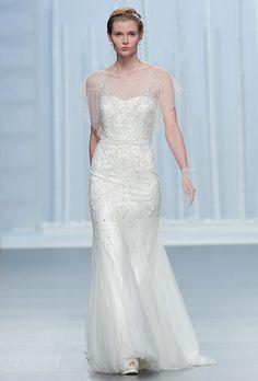 Brides.com: . Beaded sheath with a sweetheart neckline, flutter sleeves and beaded embellishment, Rosa Clará