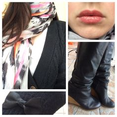 the First day i was wearing my Snow-Leopard scarf with neon Elements! combined with shiny lips, Tall boots And Girly gloves its a Perfect Look for an Office monday in Fall Leopard Scarf, Snow Leopard, Tall Boots, My Outfit, Gloves, Girly, Lips, Neon, How To Wear