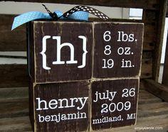 Personalized Baby Blocks -- super cute idea from Simply Kierste #wood #blocks #DIY