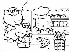 Coloriage Hello Kitty chez le boulanger et dessin à colorier Hello