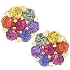 Multicolor Rainbow Sapphire Earrings Flower by RainbowSapphire