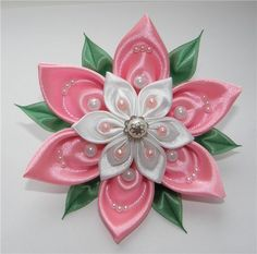 Kanzashi flower-- just a petal tutorial.  In Russian, but the pictures are easy to follow
