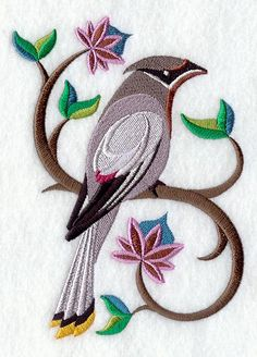 "Perching Pretty Cedar Waxwing	Product ID:	D3576 Size:	4.13""(w) x 5.95""(h) (105 x 151.1 mm)	Color Changes:	17 Stitches:	26431	Colors Used:	13"