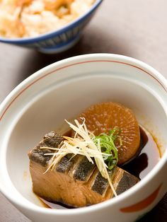 Japanese food - Buri daikon (simmered yellowtail with daikon - Japanese radish)