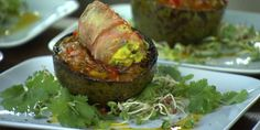 Grilled Avocados with Prosciutto Wrapped Shrimp