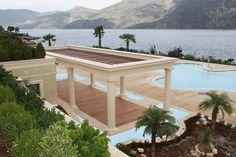 Pergola and pool decoration made with GRC, by Hellenic Plasterwork Precast Concrete, Reinforced Concrete, Fiber Cement Siding, Building Facade, Garden Bridge, Pergola, Exterior, Outdoor Structures, Architecture