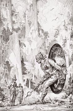 Capns Comics: The Time Traveller by Roy G. Ink Illustrations, Illustration Art, Dcc Rpg, Futuristic Art, Fantasy Paintings, Science Fiction Art, Retro Futurism, Fantastic Art, Sci Fi Art