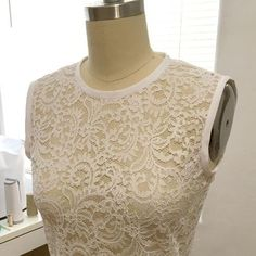 ivory lace top with bias binding