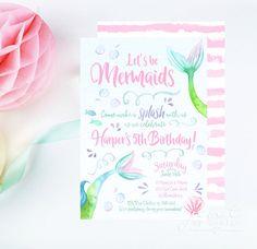 Watercolor Mermaid Invitations